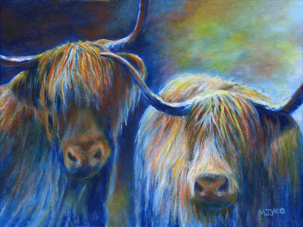 Scottish Highland cattle cows by Marion Yeo