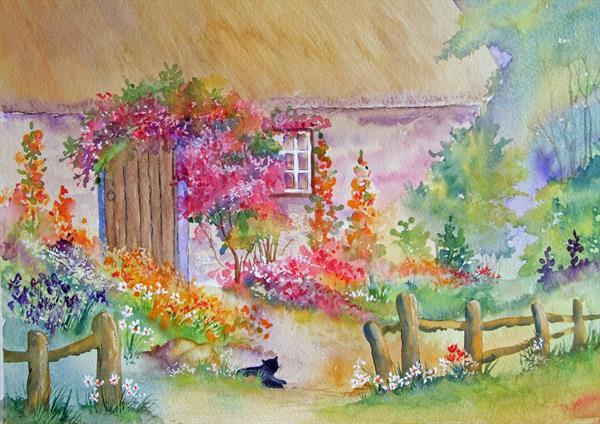 Country Cottage Garden.  Original Watercolour by Pamela J West