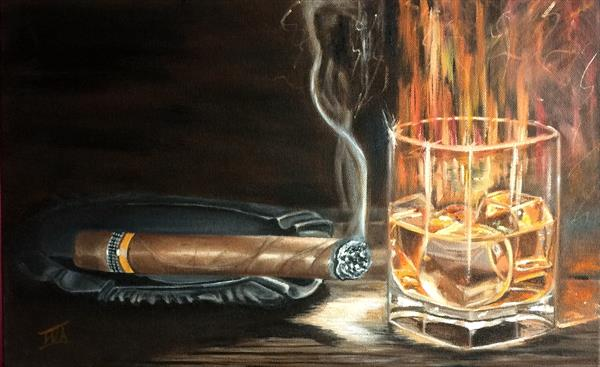 Sigar and whisky. Still life for man
