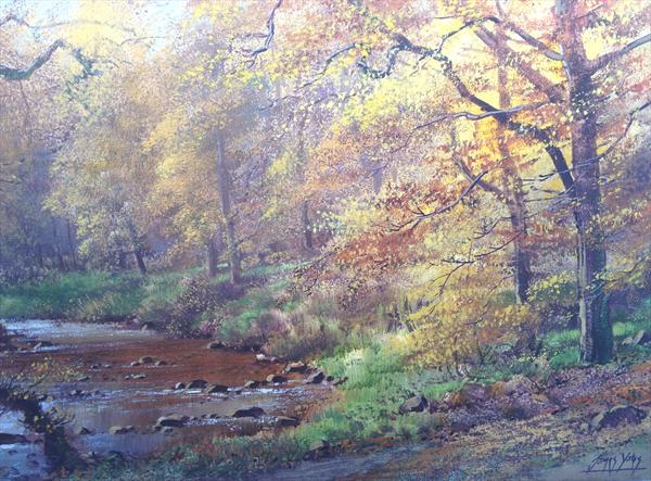 Autumn Woodland River by James Yates