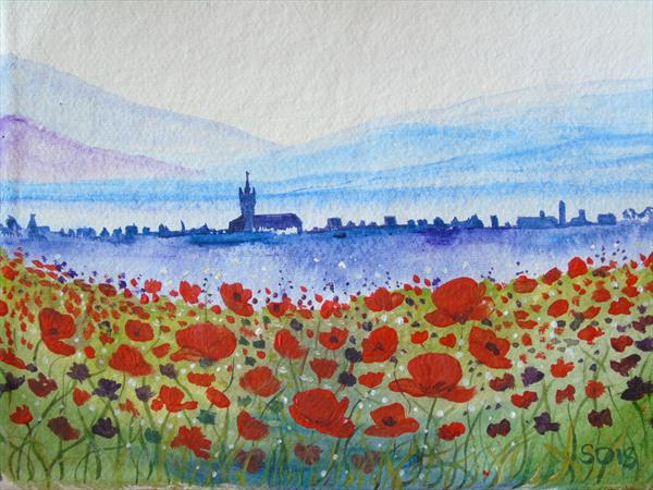 Village View From The Poppy Field by Super Cosmic