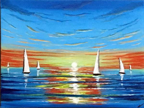 Vibrant Sunset Sailing by Aisha Haider