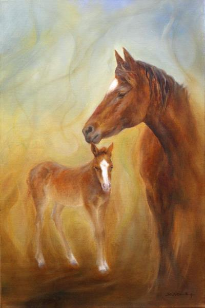 Mare & Foal by Stella Dunkley