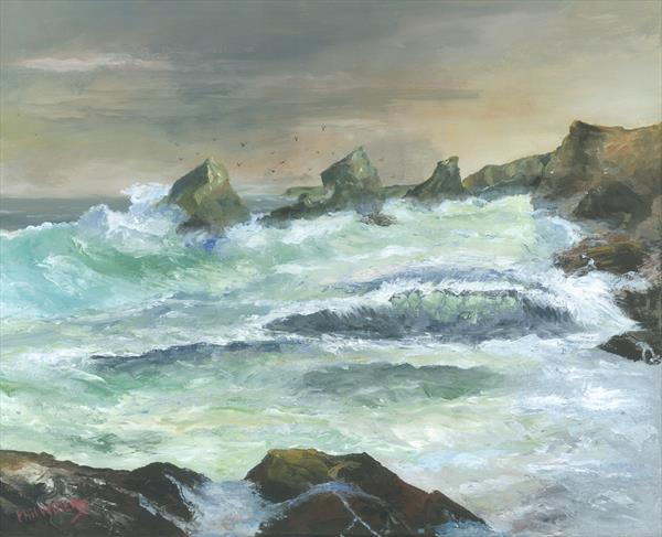 Bedruthan Steps Rough Sea Cornwall by Phil Willetts