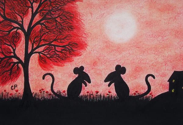 Mice Silhouette (Framed) by Claudine Peronne