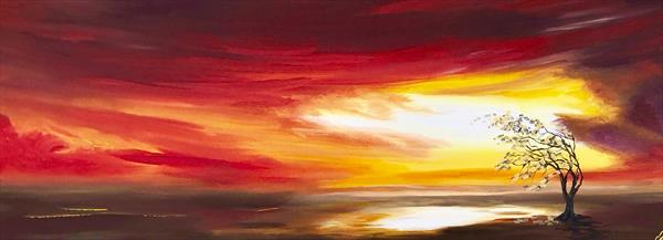 The Lone Tree on a Panoramic Canvas by Marja Brown