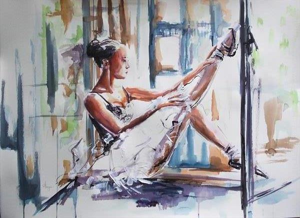 Personal Moment - Figurative Ballerina Acrylic Mixed Media Painting on Paper by Antigoni Tziora