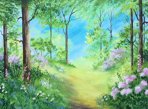 Forest Glade in Spring. Large Original acrylic painting by Pamela West