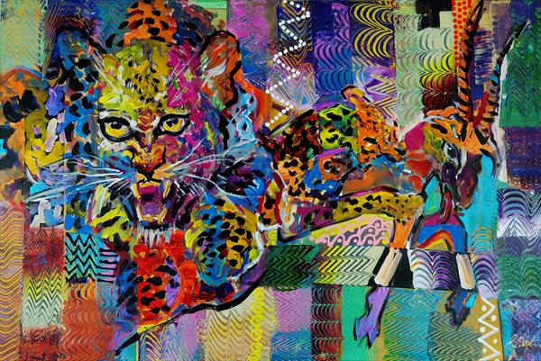 Wild leopard hunting abstract painting 928 by Eraclis Aristidou