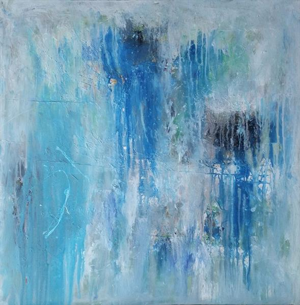 """31,5x31,5""""(80x80cm) Square acrylic painting , lots of blue shades by Veronica Vilsan"""