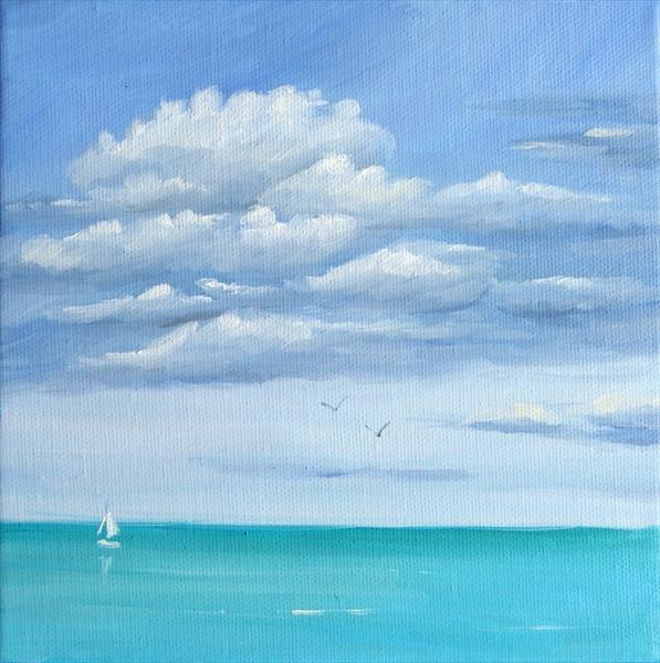 Breezy Day Seascape Painting by Mary Stubberfield
