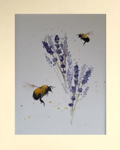 Delicate Bees & Lavender by Teresa Tanner
