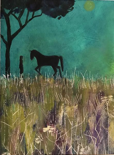 Sweet Hollow Meadow ( framed original oil )  by Sarah Gill