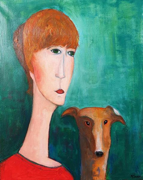 Woman with greyhound by Teresa Tanner