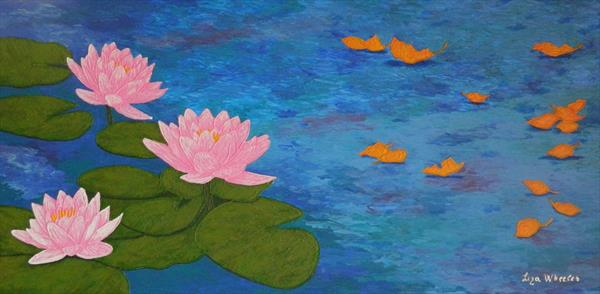 Last Song of Summer - large lotus flower painting by Liza Wheeler