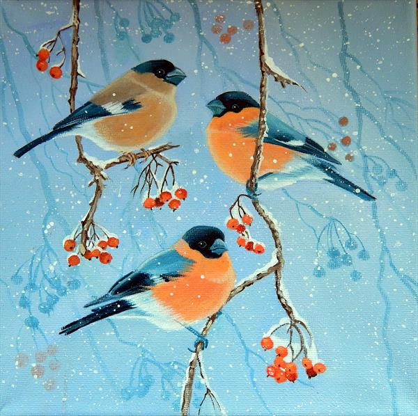 Bullfinches and Berries by Denise Coble