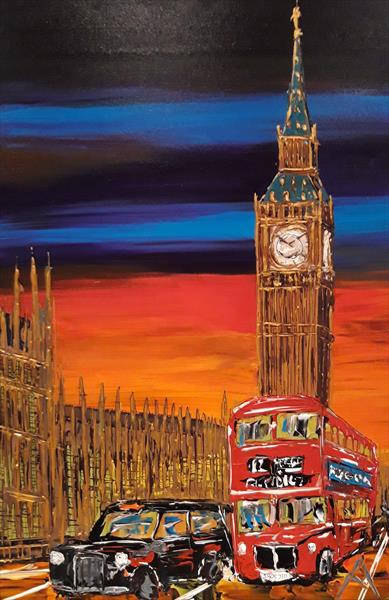 Big Ben, London Bus & taxi by dusk