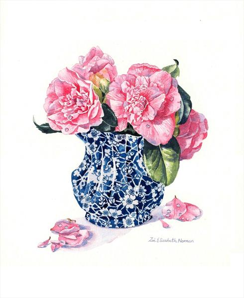 Chinese Vase of Camellias by Zoe Elizabeth Norman