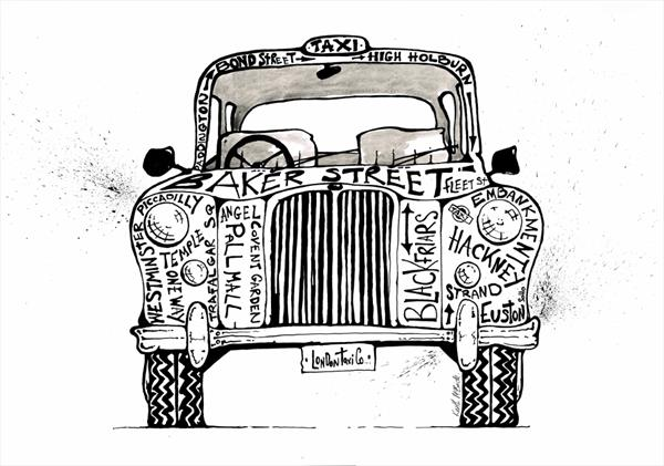 Black and white taxi limited edition print