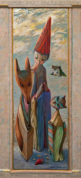 PINOCCHIO, THE FOX AND THE CAT - ( integrated decorated Frame )