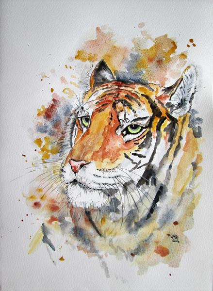 Tiger portrait, big Cat by Marjan's Art