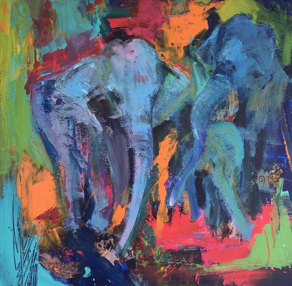 Elephants in Colour by Pam Smallshaw