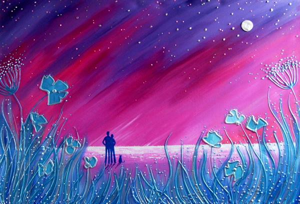 Silver blue moonlight beach by Angie Livingstone
