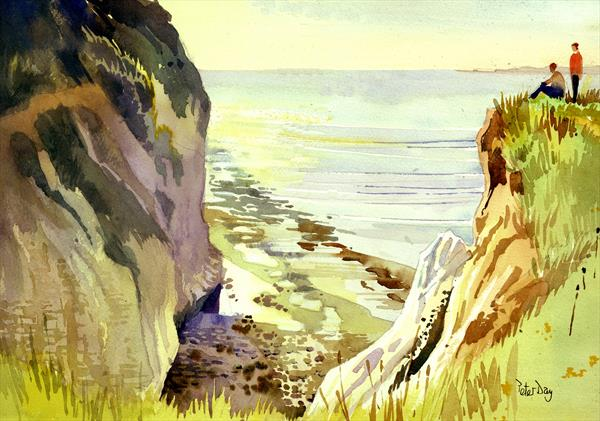 Devils Drop, Pegwell Bay, Cliffs End, Ramsgate, Kent. Chasm in chalk cliff, sea by Peter Day