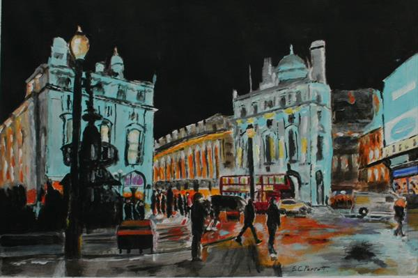 Piccadilly Circus, London. by Ernest George Perrott