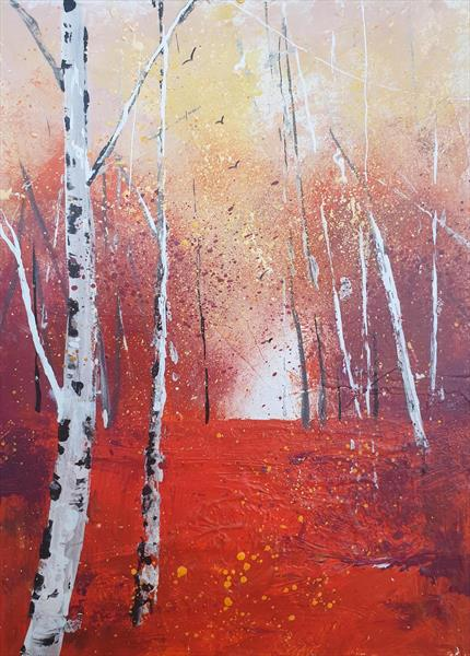 Autumn Birch Woods by Teresa Tanner