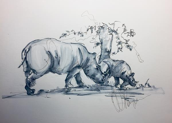 Rhino Collection -Mother and baby  by Wendy Thompson