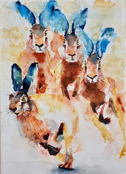 "Hares in a Hurry 12"" x 16.5"" by Anna Pawlyszyn"