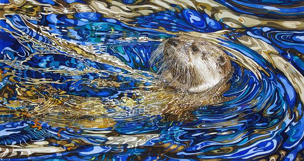 Otter in Sapphire Blue Water