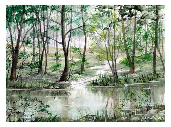 Summer Coolness. Watercolour landscape paintings by Yulia Schuster