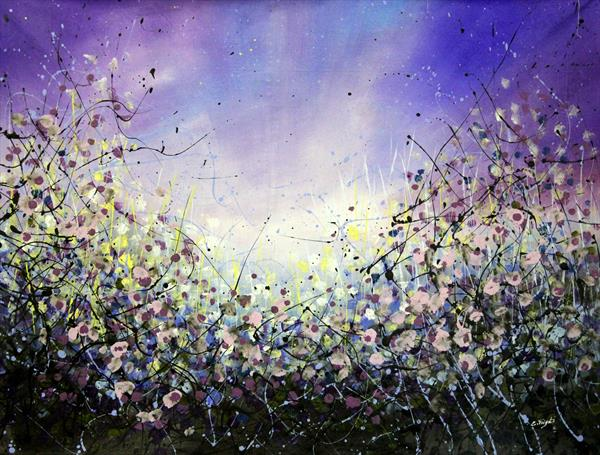 Star Rise #2 - Large 107x89cm - Original floral painting by Cecilia Frigati