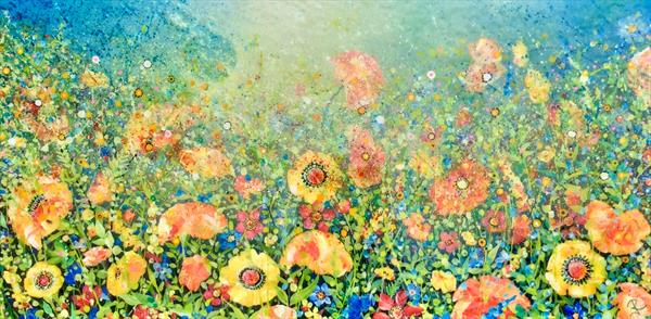 Flower Power # Large Resin Art  by Janice  Rogers
