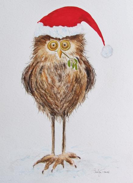 Christmas Party Owl by Carolyn Towers