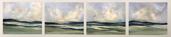 Extra Large Quadriptych ~England's Green And Pleasant Land X by Maxine Martin