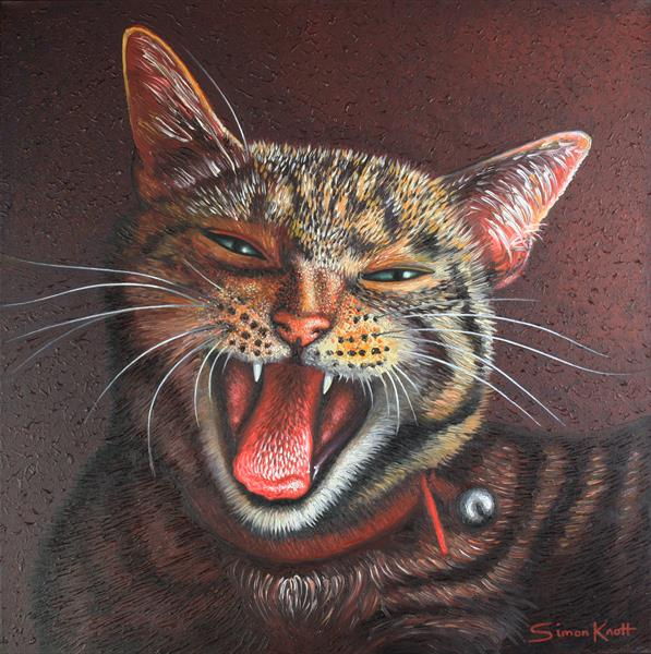 Gigi Growl - My pet cat portrait in oils by Simon Knott