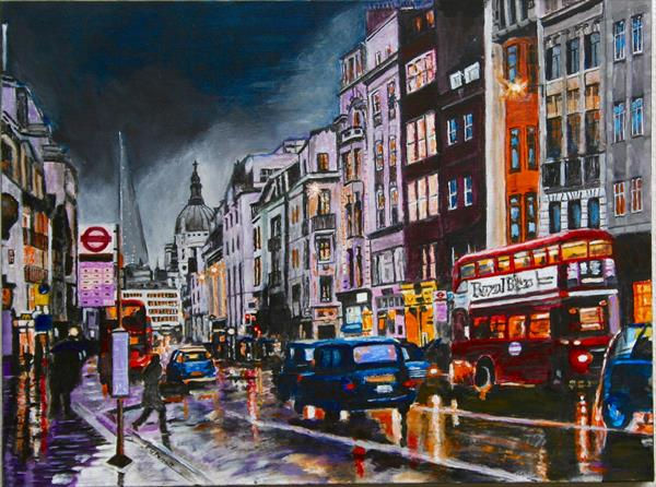 Fleet Street, City of London. (Original artwork)