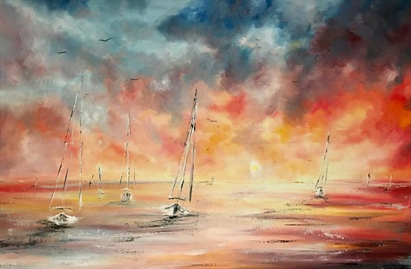 Sunset sailing  by Pippa Buist