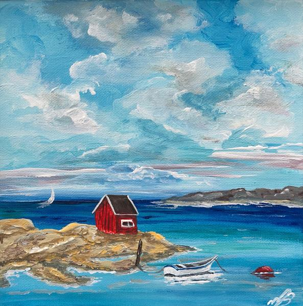 Fishermans hut in a frame by Marja Brown