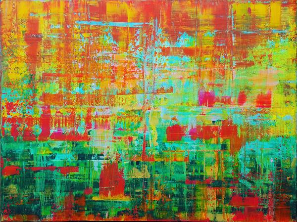 Caribbean bays - XL colorful abstract painting by Ivana Olbricht