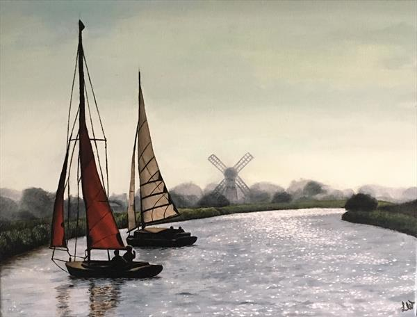 Norfolk Broads Sail Boats by Lesley White