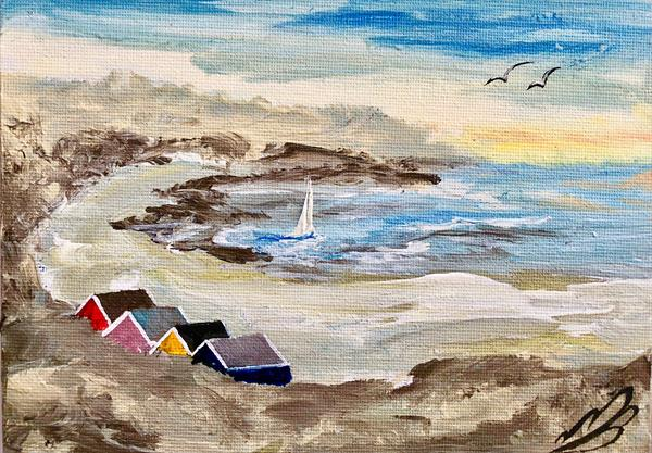 Beach huts by the bay by Marja Brown