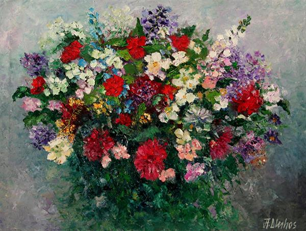 Bounteous Blooms - large canvas ships ROLLED by Andre Dluhos