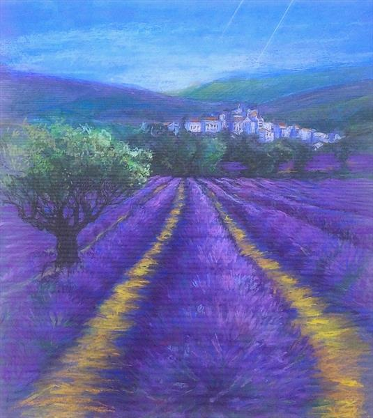 French Lavender Fields with Hill Top Village by Patricia Clements