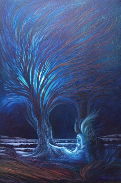 An angel resting under a moonlit tree by Phyllis Mahon
