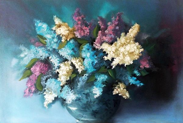 Lilacs in Blue Flowered Bowl -  FRAMED by Elizabeth Williams