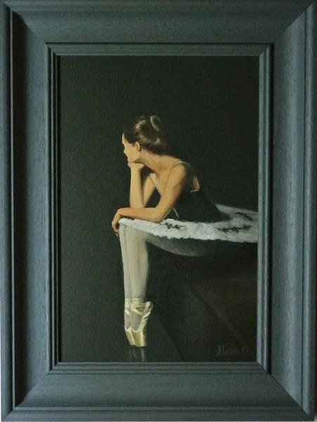 Waiting in the Wings, Ballet Shoes, Ballet Painting Framed and Ready to Hang by Alex Jabore